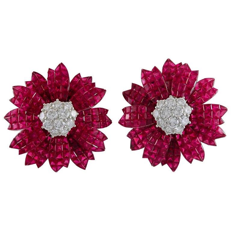 Sabbadini Ruby Diamond Invisible Set Flower Earrings For Sale