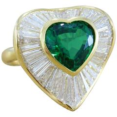 3.70 Carat Green Chrome Tourmaline Diamond Gold Heart Ring