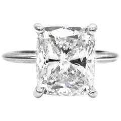 GIA Certified 4.01 Carat Cushion Cut Diamond Solitaire Engagement Ring
