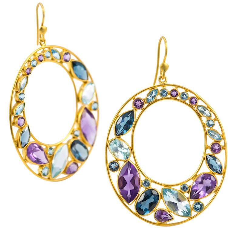 Lauren Harper Collection Amethyst London Blue Topaz Aquamarine Gold Earrings