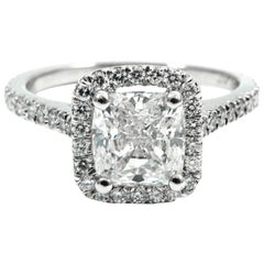 GIA Certified 1.40 Carat Cushion Cut Diamond Platinum Pave Halo Ring