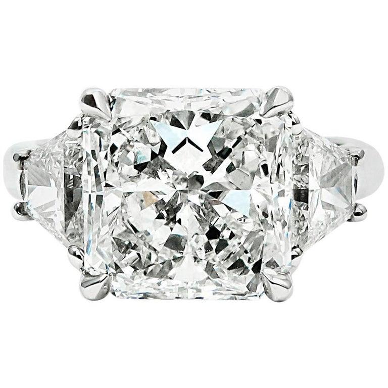 GIA Report 4.10 Carat Total Radiant Cut Diamond Platinum Ring