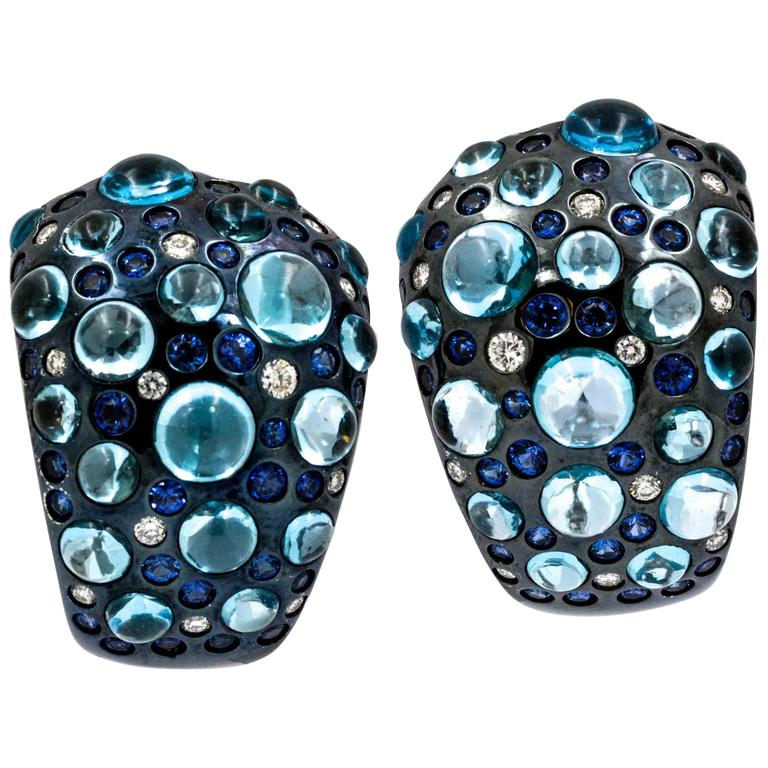 Rodney Rayner Blue Topaz, Sapphire, Diamond 18 KW Gold Earrings
