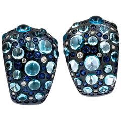 Rodney Rayner Blue Topaz Blue Sapphire Diamond Rhodium Gold Hoop Earrings