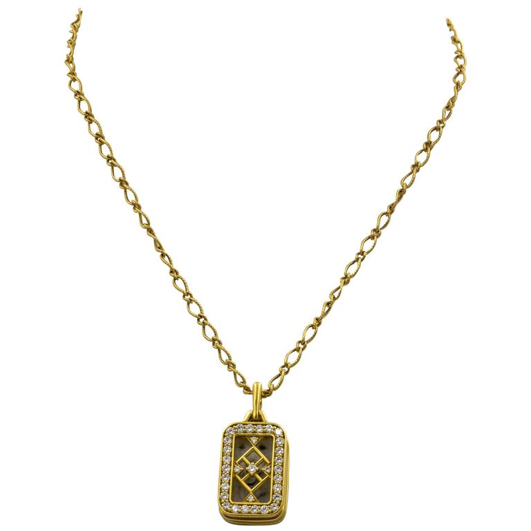 1.43 ct Diamond 18kt Yellow Gold Monica Kosann Pendant