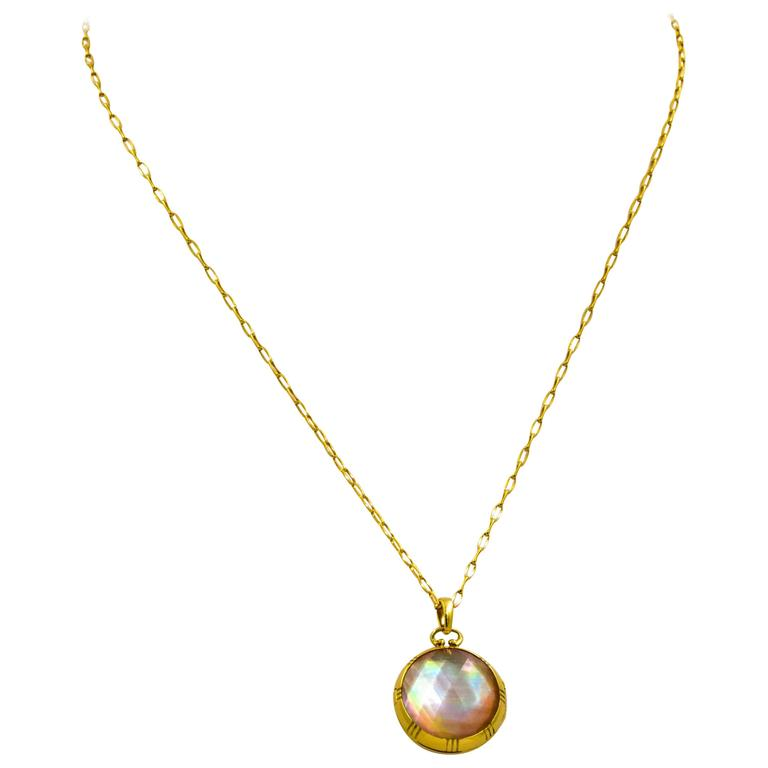 Monica Kosann Rock Crystal Mother-of-Pearl 18 KT Yellow Gold Locket