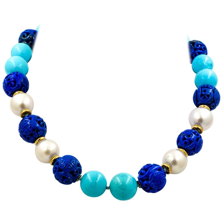 Seaman Schepps Antique Hand Carved Lapis Turquoise Cultured Pearl Necklace