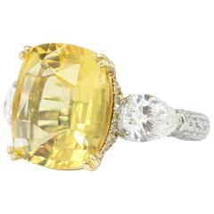 AGL Certified 10.83 Carat Natural Yellow Sapphire Diamond Pavarti Ring