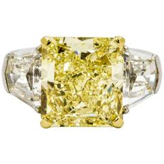 8.01 Carat Natural Fancy Yellow Diamond Platinum Engagement Eiseman Jewels Ring