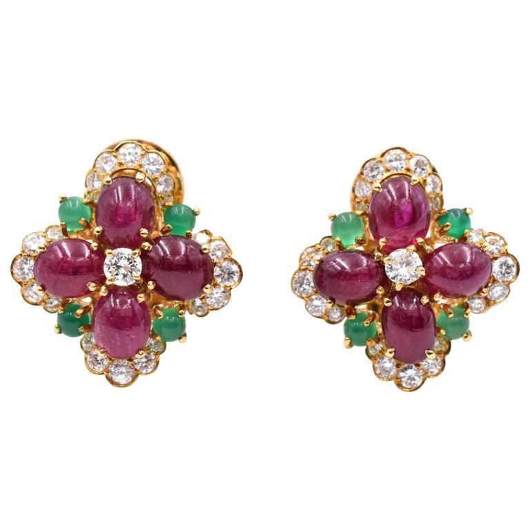 Vintage Van Cleef & Arpels Ruby Chrysoprase Diamond Gold Ear Clips 1