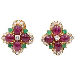 Vintage Van Cleef & Arpels Ruby Chrysoprase Diamond Gold Ear Clips