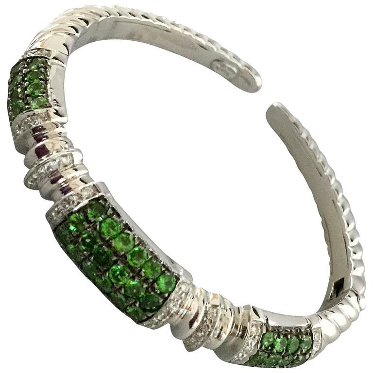 Tsavorite Diamond White Gold Cuff Bracelet  For Sale