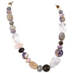 Amethyst Clear Rose Smokey Quartz Moonstone Agate Silver Necklace