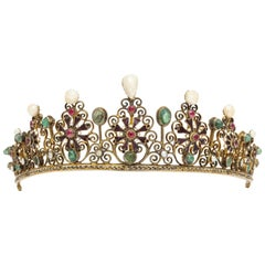 19th Century Austro-Hungarian Pearl and Gemstone Tiara