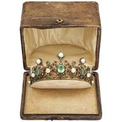 19th Century Austro-Hungarian Emerald Ruby Pearl Tiara