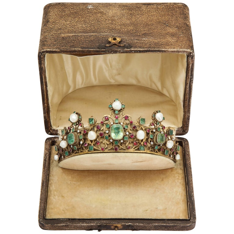 19th Century Austro-Hungarian Emerald Ruby Pearl Tiara For Sale