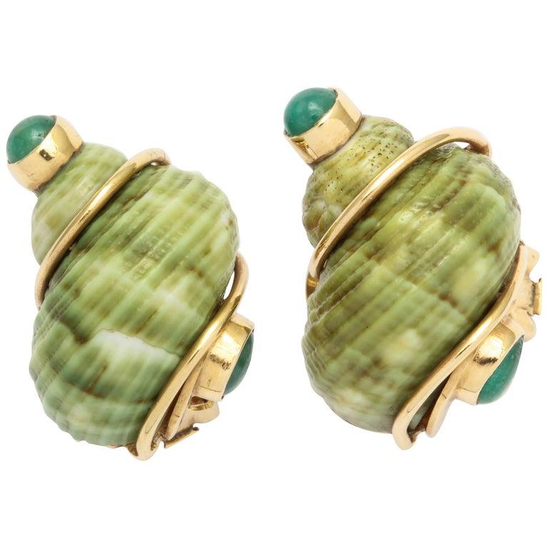 Seaman Schepps Green Sea Shell Emerald Ear Clips For Sale