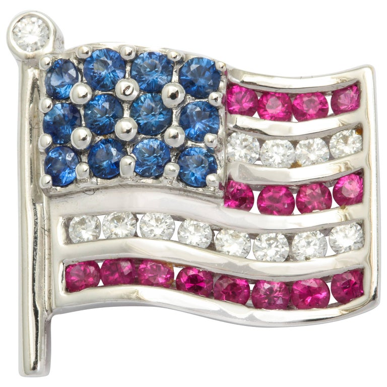 Diamond Sapphire Ruby American Flag Lapel Pin For Sale