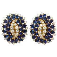 Certified David Webb Diamond Sapphire Gold Earclips