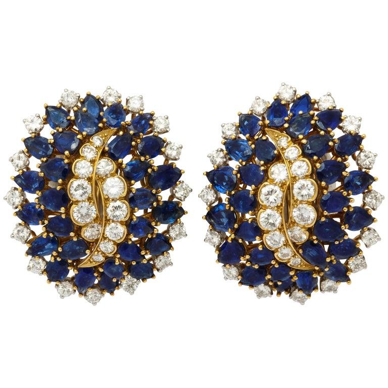 Certified David Webb Diamond Sapphire Gold Earclips