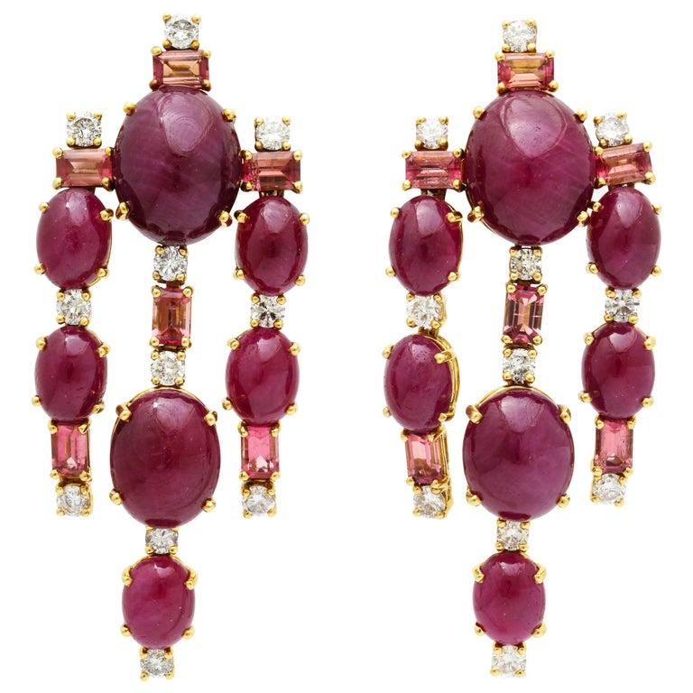 Tony Duquette Ruby Diamond Pink Tourmaline Drop Earrings For