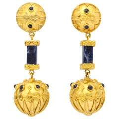 Classical Greek Lapis Granulated Gold Ball Earrings