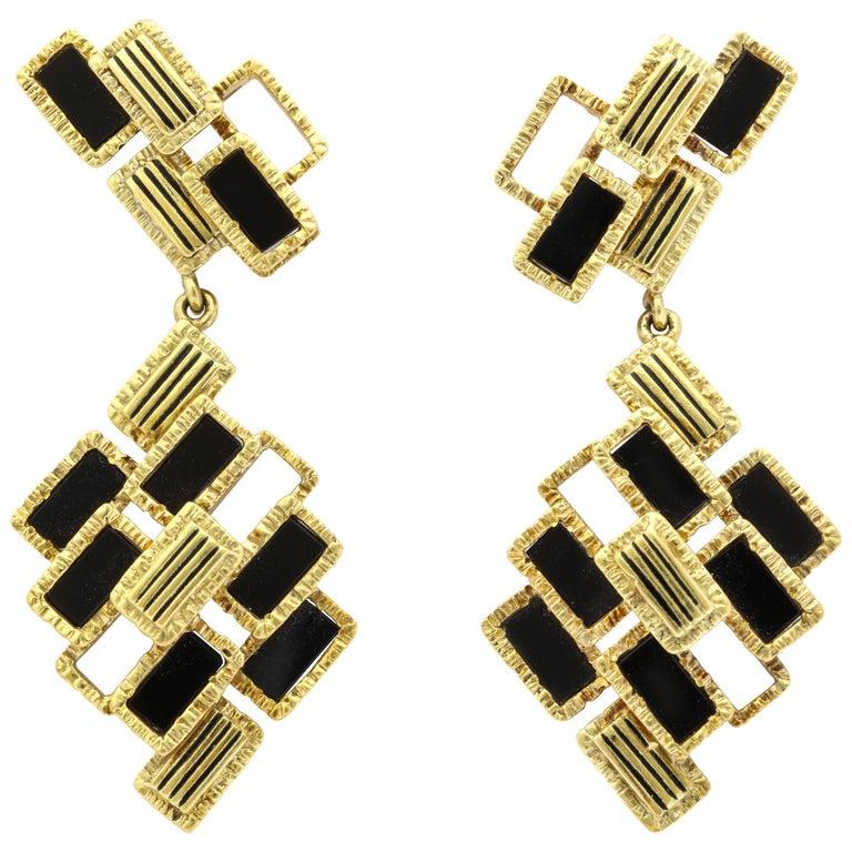 Cartier Modernist Black Jade Drop Earrings