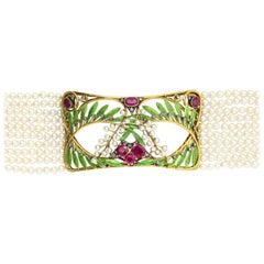 Art Nouveau Ruby Diamond Pearl Choker / Hair Comb