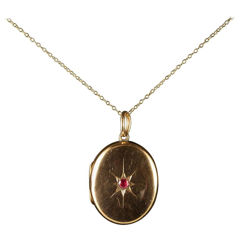 Antique Victorian Ruby Gold Locket and Chain, circa 1900