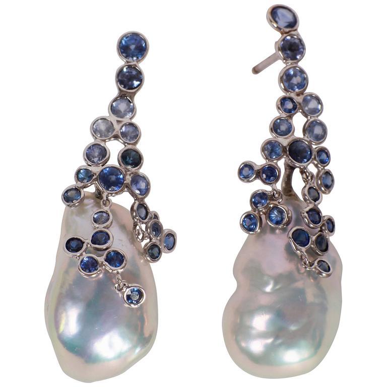 Marion Jeantet Drops of Sapphire Dew Surrounding Pear Earrings