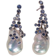 Marion Jeantet Drops of Sapphire Dew Surrounding Pear Earrings