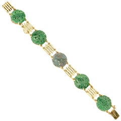 GIA Certified Art Deco Carved Natural Jadeite Jade Gold Bracelet
