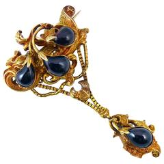 Antique Victorian Gold and Garnet Brooch, 19th Century, 15 Carat