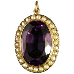 Antique Victorian Amethyst Pearl Gold Pendant
