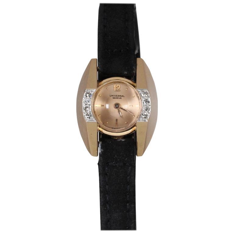 Universal Geneve Ladies Yellow Gold Diamond Wristwatch 1