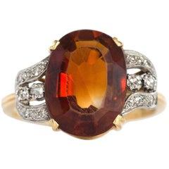 1950s H.Stern 4 Carat Citrine Diamond Yellow Gold Ring