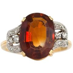 1950s H.Stern 4 Carat Citrine Diamond Yellow Gold Ring