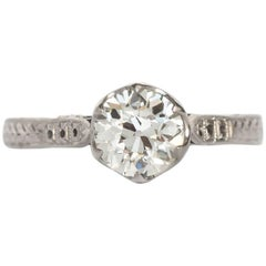 1910 Edwardian GIA 1.23 Carat Old European Diamond Platinum Engagement Ring