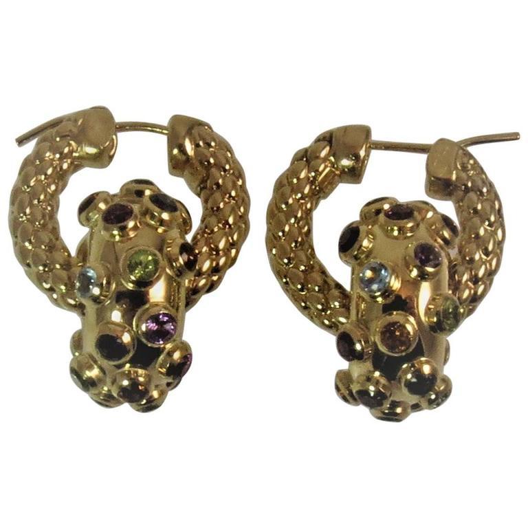 Multi-Color Semi-Precious Stones Yellow Gold Detachable Hoop Earrings