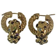 Multi-Color Semi-Precious Stones Yellow Gold Detachable Hoop Earrings