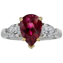 Gubelin and GIA Certified 3.08 Carat Pear Shape Ruby Ring