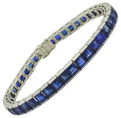 Art Deco Natural Untreated Sapphire and Platinum Link Bracelet