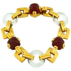 Retro Carnelian Rock Crystal Gold Link Bracelet