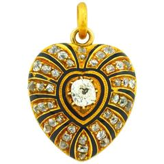 Victorian Enamel Heart Locket with Old Mine Cut Diamonds