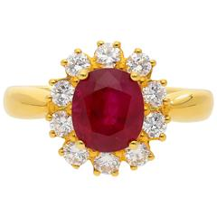 2.99 Carat Burma Ruby Diamond Yellow Gold Ring