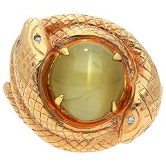 6.29 Carat Chrysoberyl Cat's Eye Diamond Rose Gold Serpent Ring