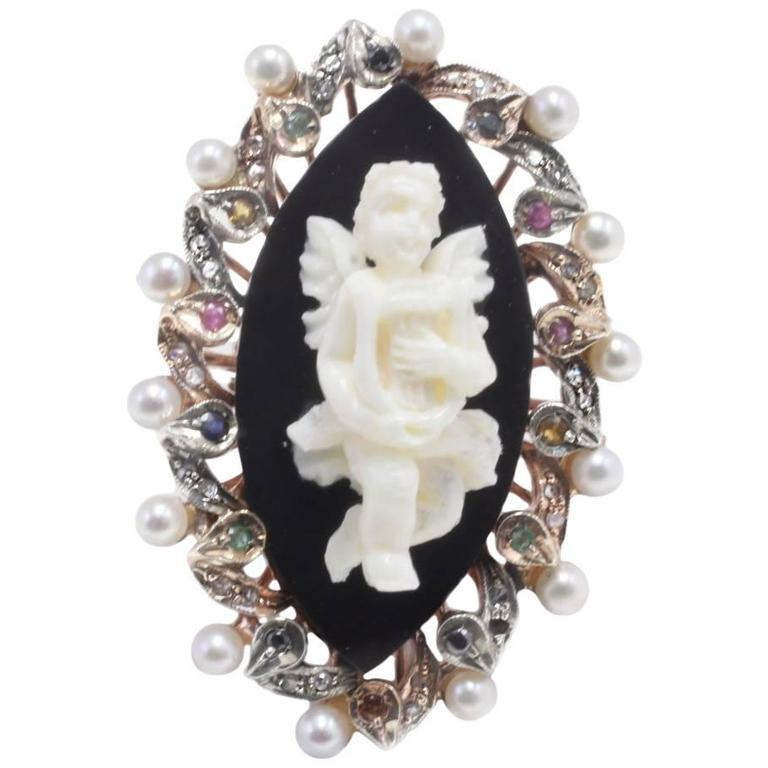 Rose gold and silver,Carved Stone Cherub Ring