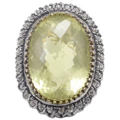 Luise Oval Lemon Citrine Silver Rose Gold Ring