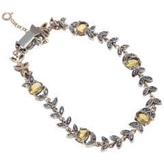 Topaz Diamond Silver Rose Gold Link Bracelet