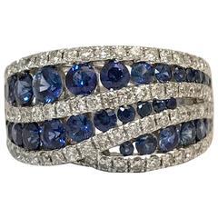 Sapphires Diamonds White Gold Cocktail Ring